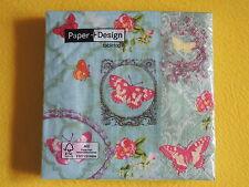 20 Servietten  Schmetterlinge BUTTERFLY GARDEN Ornamente 1 Packung OVP