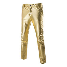 Men's Golden Glossy Nightclub Trousers Plain Casual Street Party Christmas Pants