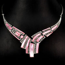 Sterling Silver 925 Pink Mother of Pearl & Marcasite Art Deco Necklace 17 Inch