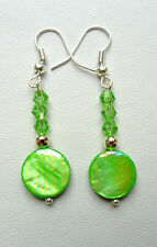 Dangle earrings - 12mm. green shell disc + crystals