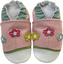 carozoo little flower pink 12-18m soft sole leather baby shoes