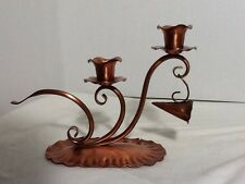 Gregorian Copper Double Solid Copper Candlestick Holder with Snuffer Vintage