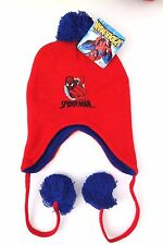 Marvel Ultimate Spider-Man Boy's Children Kids Graphic Red Pom Ear Flap Hat NWT
