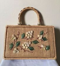 Vintage by Donna Beige Wicker Hemp Wicker Flower Box Purse