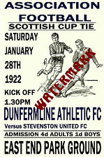 DUNFERMLINE ATHLETIC - VINTAGE 1920's STYLE MATCH POSTER
