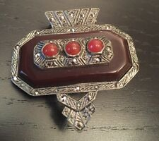 Antique Art Deco Dress Clip or Brooch with Stones
