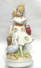 Cute Empress by Haruta Porcelain Girl with A Goose Figurine
