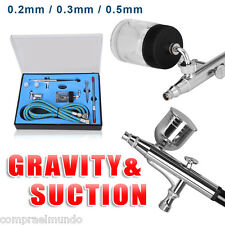New Pro Double Action Airbrush Air Brush Kit Set Sunction Gravity Feed 7cc