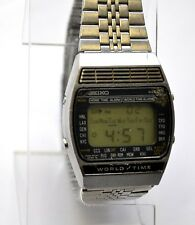 Rare Vintage 1979 Seiko A239-502A World Time Map Japan Steel Watch Runs !