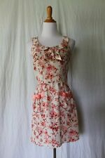 Betsey Johnson Pink Label Pink Skull & Roses Silk Shirt Waist Dress Size 0