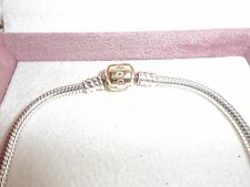 Genuine Pandora Silver & 14ct Gold Barrel Clasp Bracelet 590702HG - 18cm
