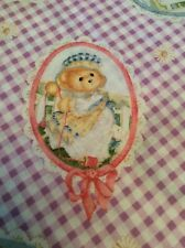 Daisy Kingdom Cherished Teddies Fabric Spring Purple Gingham Cameos Bunny 45""