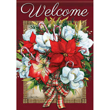 """Flowers of Christmas Welcome House Flag  28"""" x 40"""" Double sided by Carson Winter"""
