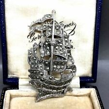 VINTAGE MARCASITE & Chrome Galleon Tall Nave Barca Spilla