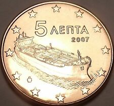 Gem Unc Greece 2007 5 Euro Cents~Minted In Athens~Ocean Freighter~Free Shipping