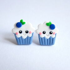 Funny Kawaii Emoji Cupcake Muffin Blueberry Fruit Girls Gifts Earrings Jewelry