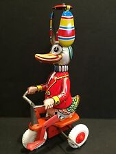 """VTG WIND UP TIN TOY """"DUCK ON A BIKE WITH SPINNING HAT""""  MADE IN WESTERN GERMANY"""
