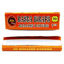 RASTA WRAPS 1.25 Cigarette Rolling Papers 1 1/4    50 sheets! wrap gummed