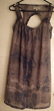 Just Jeans 6 Cutout Panel Back Gunmetal Hole Brown Dark Blue Sheer Lined Dress