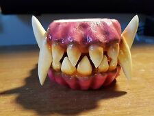 Painted  Creature Monster Jaw Set Teeth Mask  Bust Taxidermy Halloween Werewolf