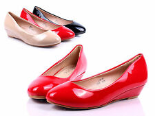 Red Office Lady Fashion Wedges Platforms Womens Low Heels Shoes Size 9