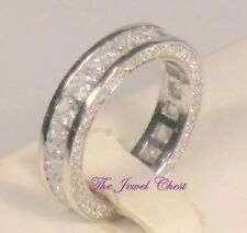 2.50 Ct Pave Princess D/VVS1 Diamond Eternity Band Wedding Ring White Gold