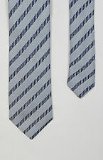 Armani Collezioni - Silver/Navy Striped Silk Tie - One Size - RRP £85