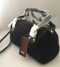 NWT THE SAK KNIT RIBBON WEAVE DEMI SATCHEL/BAG W TRIM - BLACK New W Tags