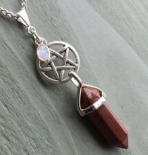 Pentagram Rainbow Moonstone & Gold Stone Point Crystal Pendant Wicca Pagan witch