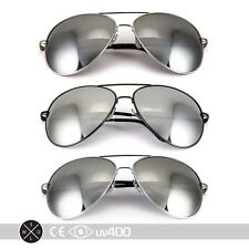 3x - Extra Large Mirrored Oversized Aviator Sunglasses Gold Silver Gun XL S077