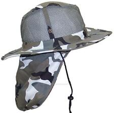 Summer Wide Brim Mesh Safari/Outback Hat W/Neck Flap #982 City Camo S