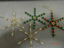 Kit to make 4 Christmas Beaded Wired Snowflake decorations,Assorted Colours