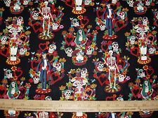 Cotton Fabric NEW Alexander Henry La Vida Skeletons Day of the dead BLACK BTY