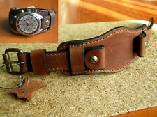 MILITARY WATCH BAND GENUINE LEATHER CUFF BRACELET STRAP 22mm BROWN OSCAR MOSER