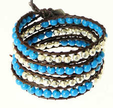 Brown Double Leather Cord Blue Coloured Metal Bead Wrap Around Bracelet