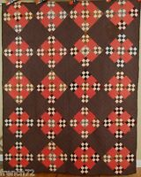 HANDSOME Vintage 1880's Double 9-Patch on Point Postage Stamp Antique Quilt!