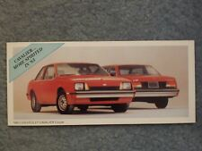 1983 CHEVROLET CAVALIER COUPE MINI BROCHURE CARD CAVALIER… MORE SPIRITED IN '83