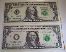 CONSECUTIVE US ONE DOLLAR FEDERAL RESERVE NOTES 2 BILLS 1995 F 89183932-33 T