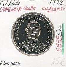 MEDAILLE - FRANCE - CHARLES DE GAULLE - (5 555 Ex) - Cuivre Argenté - Flan bruni