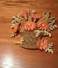 "Burrwood Products Orange fall flowers wall plaque--approx. 9.5"" W x 8.5"" Tall"
