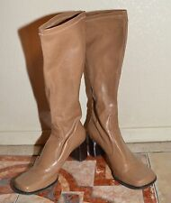 Franco Sarto Knee High Pull on Light Tan Pleather Square Toe Boots  Size 8.5 Med