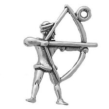 Archer Bow and Arrow Charm 925 Sterling Silver Pendant Sports Archery