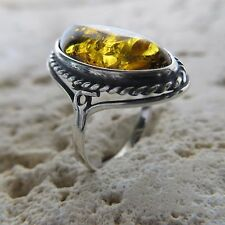 Size 6 3/4, Size N, Size 54 Green / Gold BALTIC AMBER Ring STERLING SILVER #1806