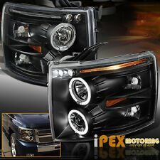 2007-2014 Chevy Silverado 1500 2500HD 3500 Halo Projector Black LED Headlights