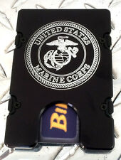 Billet Vault Front Pocket Wallet,  RFID protection black anodized, U.S. Marines