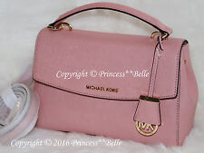 MICHAEL KORS Ava Satchel Leather Small Crossbody Shoulder Bag Purse Pale Pink