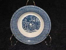 "Currier Ives Royal China Blue and White Farm Gate Berry Fruit Bowl 5 3/8"" NICE!"