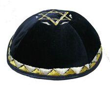 Velvet kippah High quality Black Yamaka, Embroidery of Stars of David kippot