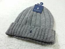 NEW Polo Ralph Lauren Men Woman's Winter Wool Beanie Hat Charcoal Light Gray