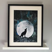 Howling Wolf Watercolour Painting. Art Print, Limited Edition, Signed